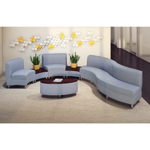 Shown w/2 30 Degree Wide Back Chairs, 1 60 Deg Wide Front, 1 60 Deg Wide Back Chair, 1 Curve Table, and 1 Oval Table