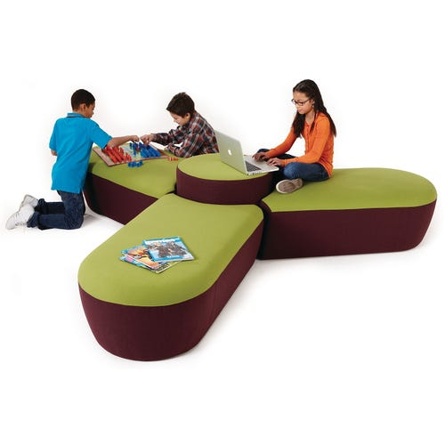 Shown with 3 Rectangle Bench w/ 1 Semi-circle End, 1 Round End and 1 Round Bench