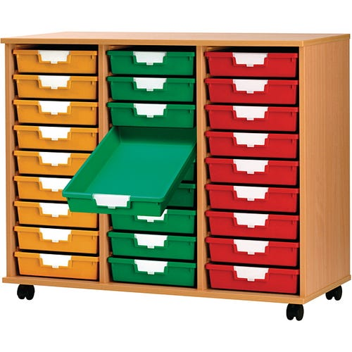 27-Tray, Shown with Yellow, Green, and Solid Red Bins