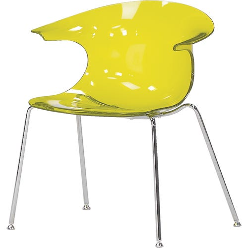 Plastic Chair with Arms, shown in Translucent Yellow