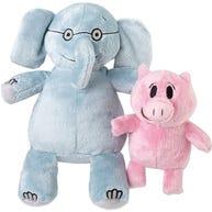 "Elephant 7"" & Piggie 5"" Bean Filled Plush Set"