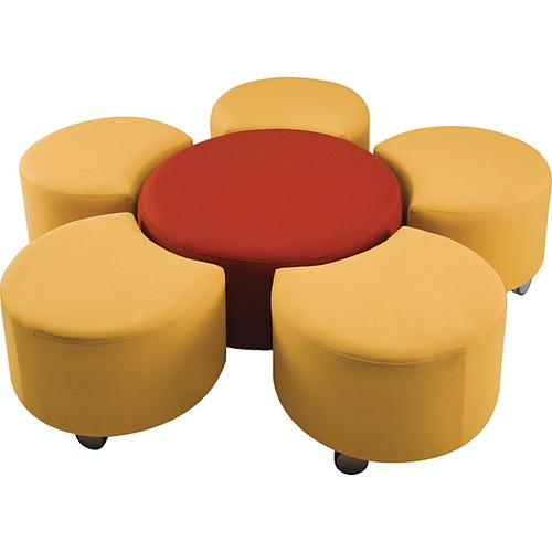 1 Center Ottoman Surrounded by 5 Crescent Seats. Sold Individually or Sets.