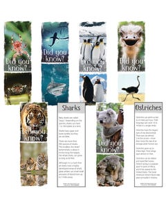 Demco® Upstart® Fun Facts Animals Bookmarks - Spider, Shark, Penguin, Ostrich, Tiger, Koala