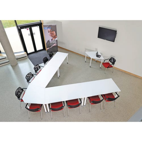Shown With 4 Rectangle Tables and 1 Kite Table.