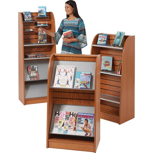 Shown Left to Right: 136-9845 Deluxe Multi-media Display, 136-9834 Newspaper/Magazine Display, 136-9838 Book Display