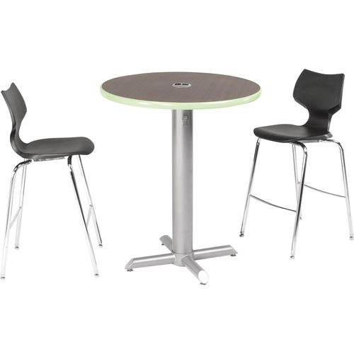 Round Café-height Table Shown With Asian Night top, Apple Edgeband and Crisscross Base. Chairs sold separately.