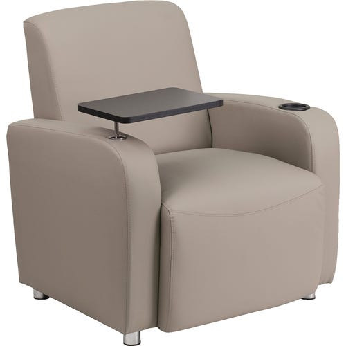 Grey leather chair with casters