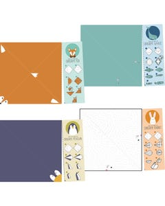 Demco® Upstart® Origami Activity Bookmarks - Fox, Whale, Penguin, Rabbit