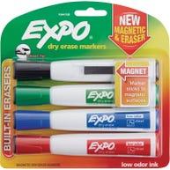 Expo® Magnetic Dry Erase Chisel-tip Marker 4-color Set with Eraser