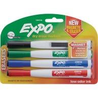Expo® Magnetic Dry Erase Fine Tip Marker 4-color Set with Eraser