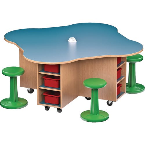 Shown Without Locking Doors. Kore Wobble Stool Chairs Sold Separately.  Storex Storage Trays Sold Separately.