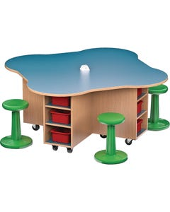 Shown Without Locking Doors. Kore Wobble Stool Chairs Sold Seperately.