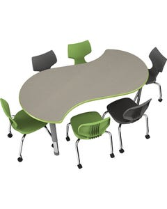Shown With Pewter Mesh Laminate Top, Apple Edge, and Platinum Frame.  Smith System Flavor Chairs Sold Seperately.