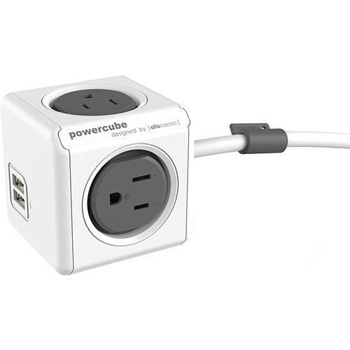 Original USB Extended has 4 AC outlets and 2 USB 2.1A ports, 5'L Cord