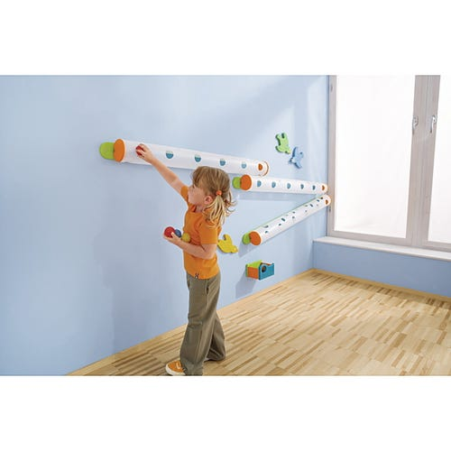 3 HABA® Wall Ball Tracks Shown with Catch Bin (Sold Separately)