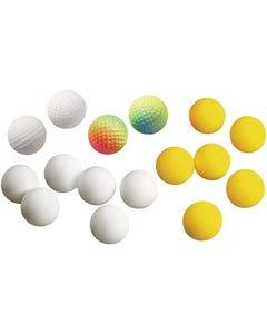 "16-piece Mixed Ball Set Includes Six 1-1/2"" dia. Fabric Balls, Six 1-1/2"" dia. Ping Pong Balls and Four 1-3/4"" Jumping Balls"