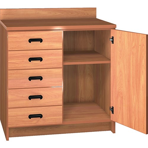 Base Shelf Cabinet with 5 Left Drawers & 1 Right Door, Shown in Oiled Cherry