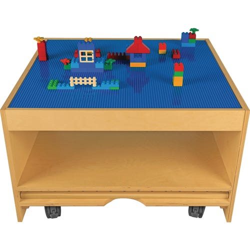 Blue building brick top is compatible with large and standard blocks (sold separately)
