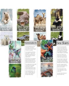 Demco® Upstart® Animal Fun Facts Set 2 Bookmarks - Polar Bear, Sea Star, Skunk, Camel, Crocodile, Humming Bird