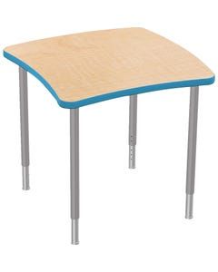 Square Table Shown with Fusion Maple Laminate Top and Blue Edge