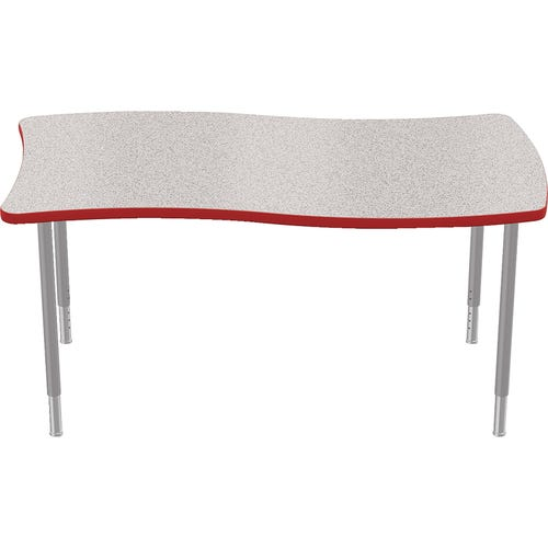 Rectangle Table Shown with Gray Nebula Laminate Top and Red Edge