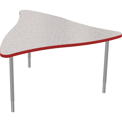 Triangle Table Shown with Gray Nebula Laminate Top and Red Edge