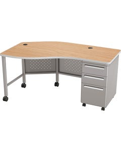 Instructor Teacher Desk II Oak Top w/ Platinum Base