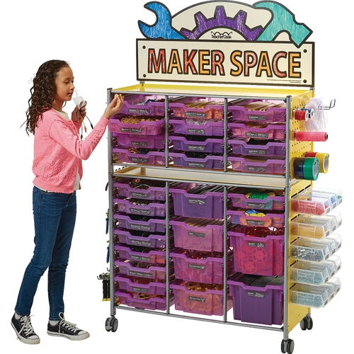 Grape Bins with Maker Space Sign