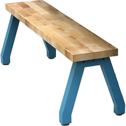 Single Planner Bench Shown With Butcher Block Top and Cerulean Leg Color