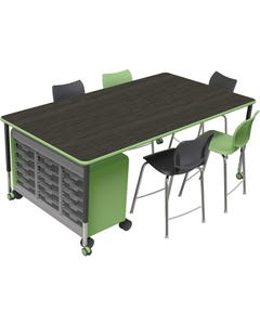 """Shown With Optional Plato 24"""" Stools, Optional Casters and Optional Cascade Mega Case Unit (Each Piece Sold Separately)"""