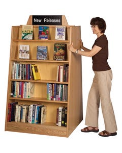 Gaylord Americana® Double-faced Mobile Bookstore Flat Style Shelving Display Unit
