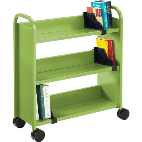 3 Sloped Shelves, Book Support Dividers Sold Seperately.