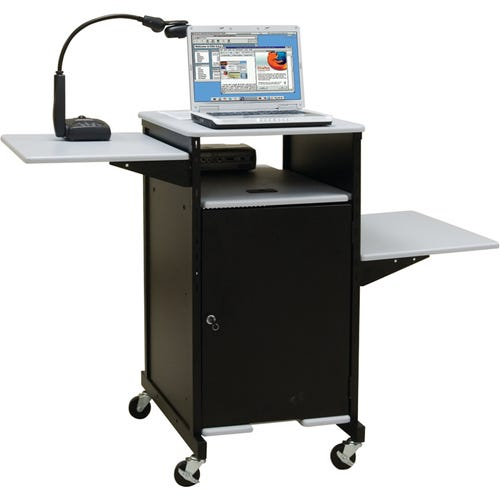 Presentation Station shown with Cabinet and 2 Side Shelves (sold separately)