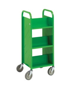 Demco® LibraryQuiet™ Double-sided End-of-range Booktruck, 6 Sloped Shelves
