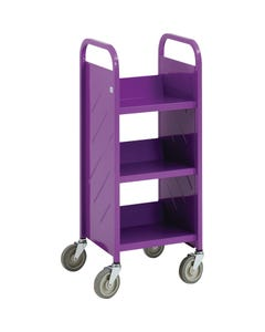 Demco® LibraryQuiet™ Single-sided End-of-range Booktruck, 3 Sloped Shelves