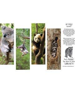 Demco® Upstart® Hanging Out Animal Bookmarks - Koala, Opossum, Panda Bear, Raccoon