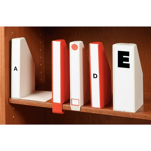 From Left to Right A Book Support, B Clip-On, C Shelf Stopper, D Single, and E Double