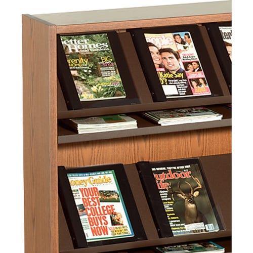 Steel Magazine Shelves Shown in Dark Brown