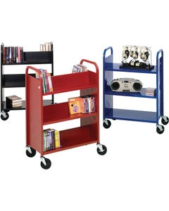 Demco® LibraryQuiet™ Ready-to-assemble Booktruck, 4 Sloping and 1 Flat Shelf