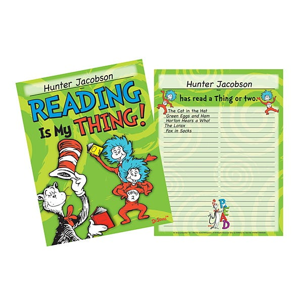 Dr. Seuss Reading Records & Certificates