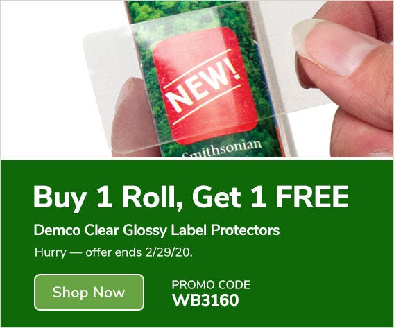 Buy 1 Roll, Get 1 FREE Demco Clear Glossy Label Protectors