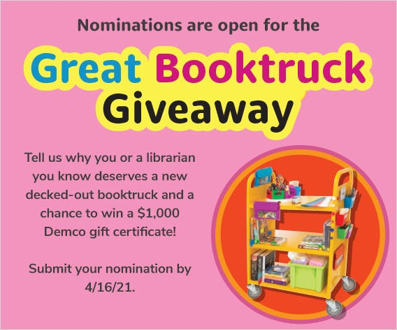 Nominations are open for the Great Booktruck Giveaway